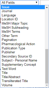 """Screenshot of the bottom of the """"All Fields"""" drop-down menu in PubMed's advanced search."""