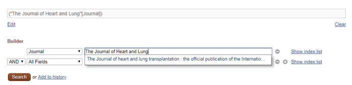 Screenshot of a suggested search for the Journal field in PubMed's advanced search.