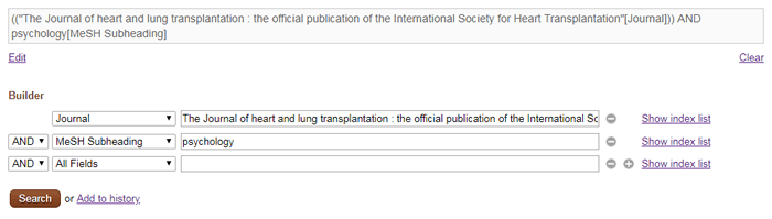 """Screenshot of an advanced search for """"The Journal of heart and lung transplantation"""" and """"psychology"""" filled out in PubMed's advanced search."""