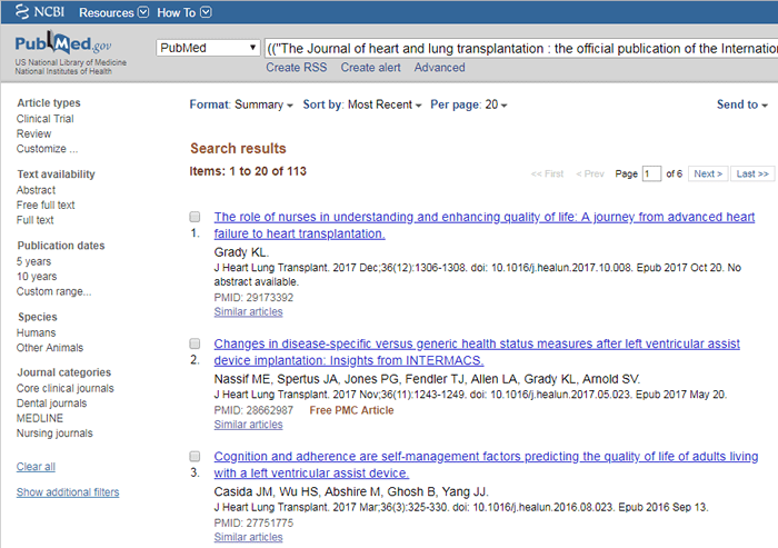 Screenshot of the search results for the previously described PubMed advanced search.
