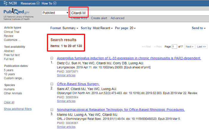 """Screenshot of a PubMed search for """"Citardi M"""" with the search and number of results boxed in red."""
