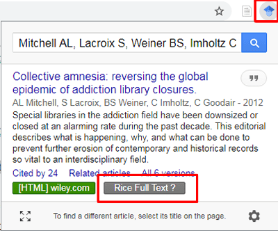 """Screenshot of the Google Scholar Button with a citation uploaded and """"Rice Full Text"""" boxed in red."""