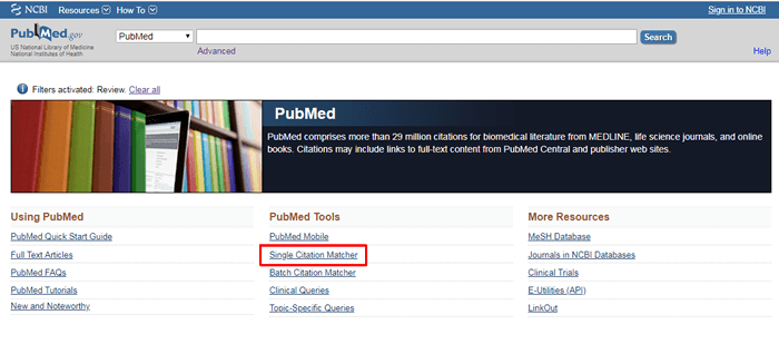 """Screenshot of the PubMed homepage with """"Single Citation Matcher"""" under """"PubMed Tools"""" boxed in red."""