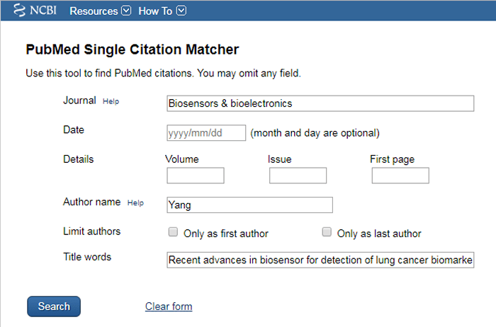 Screenshot of a PubMed Single Citation matcher form with the journal, author name, and title words fields filled out.
