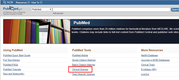 """Screenshot of the PubMed homepage with """"Clinical Queries"""" underneath """"PubMed Tools"""" boxed in red."""