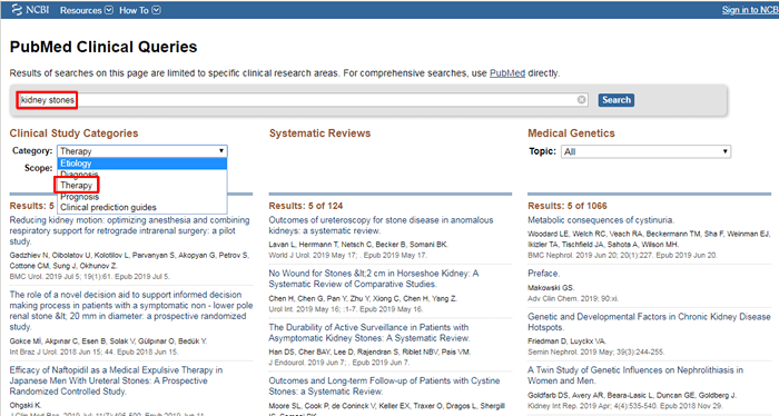"""Screenshot of a PubMed Clinical Queries search for """"kidney stones"""" with the Category drop-down menu for clinical studies open."""