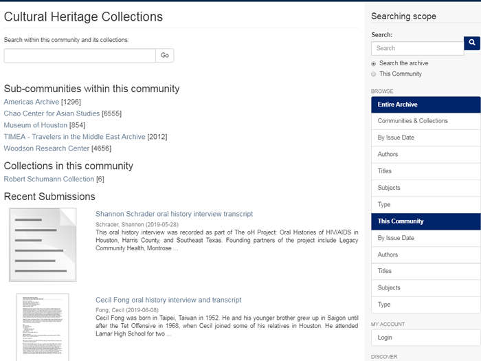 "Screenshot of the ""Cultural Heritage"" collections page in the RDSA."