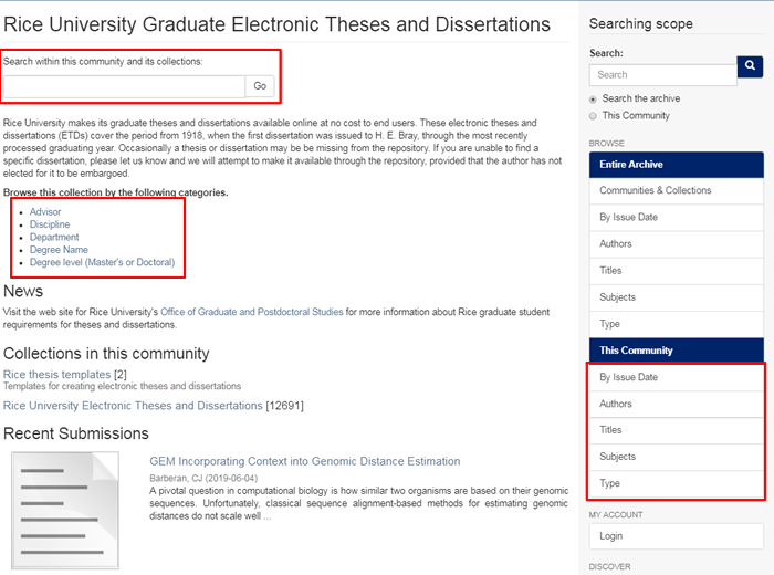 "Screenshot of the ""Rice University Graduate Electronic Theses and Dissertations"" page in the RDSA."