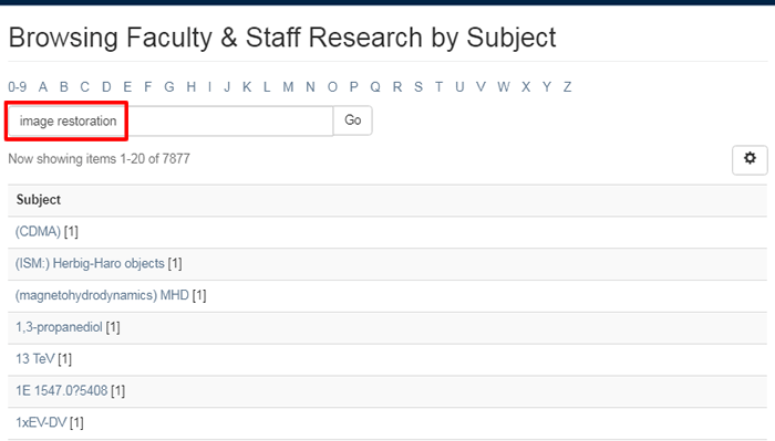 "Screenshot of the ""Browsing Faculty & Staff Research by Subject"" page with a search for ""Image restoration"" boxed in red."