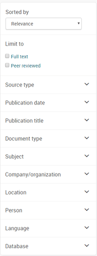 Screenshot of ABI/INFORM database options for refining search results.