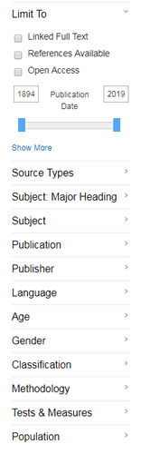 Screenshot of PsycINFO database options for refining search results.