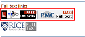 Screenshot of the full text links for a PubMed article with the free versions boxed in red.