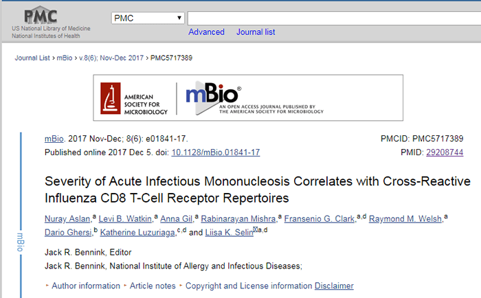 """Screenshot of a PubMed Central copy of an article titled """"Severity of Acute Infectious Mononucleosis Correlates with Cross-Reactive Influenza CD8- T-Cell Receptor Repertoires."""""""