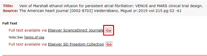 """Screenshot of a list of Fondren access options for an article with the """"Go"""" button of the top option boxed in red."""