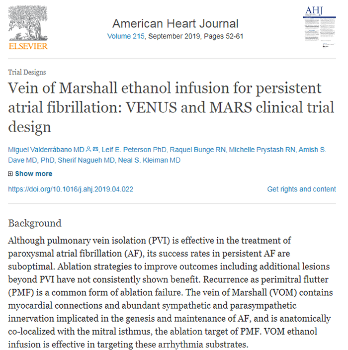 """Screenshot of an article titled """"Vein of Marshall ethanol infusion for persistent atrial fibrillation."""""""