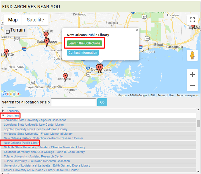 "Screenshot of ArchiveGrid navigated to the New Orleans Public Library with ""Search the Collections"" boxed in red."