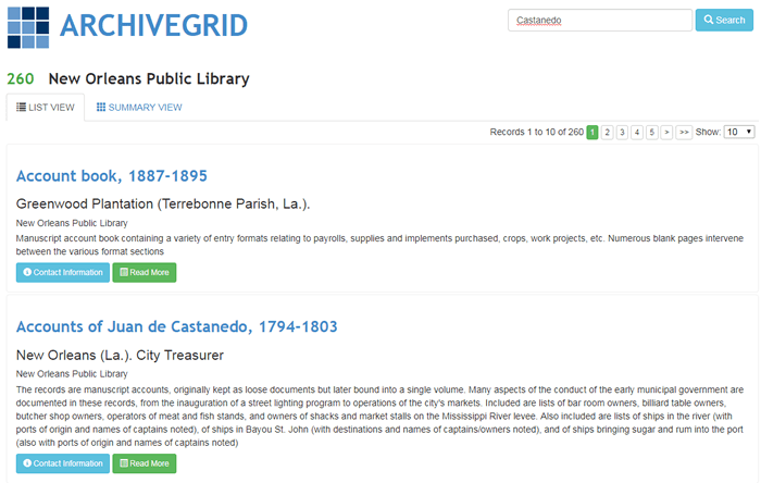 Screenshot of a list of New Orleans Public Library records in ArchiveGrid.