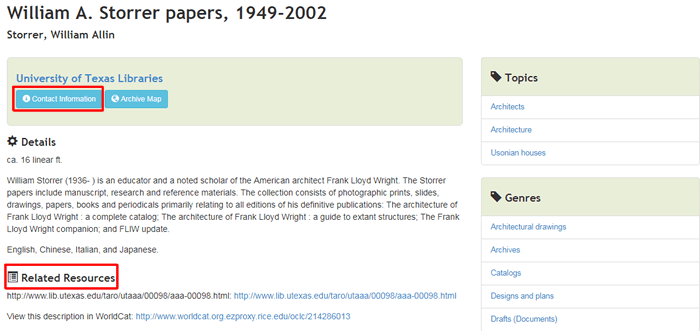 Screenshot of the ArchiveGrid record for the William A. Storrer papers, 1949-2002.
