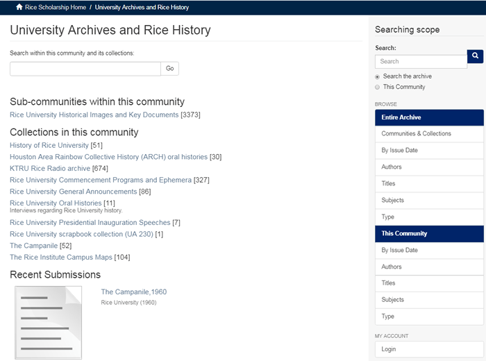 "Screenshot of the ""University Archives and Rice History"" page in the RDSA."