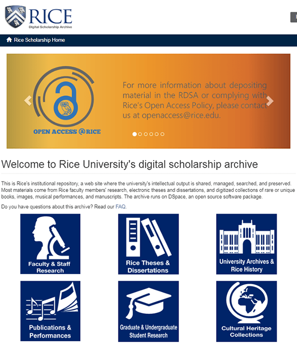 Screenshot of the homepage of Rice's Digital Scholarship Archive