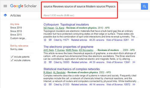 """Screenshot of a Google Scholar source search for """"Reviews of Modern Physics"""" with the search and the number of results boxed in red."""