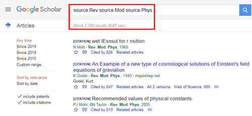 """Screenshot of a Google Scholar source search for """"Rev Mod Phys"""" with the search and the number of results boxed in red."""