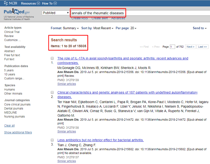 """Screenshot of a PubMed search for """"annals of the rheumatic diseases"""" with the search and number of results boxed in red."""