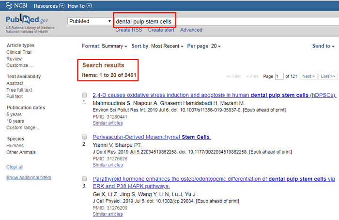 """Screenshot of PubMed search for """"dental pulp stem cells"""" with the search and number of results boxed in red."""
