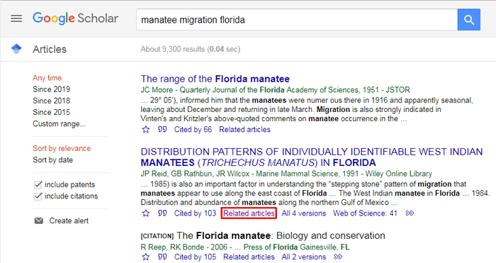 """Screenshot of a Google Scholar search for """"manatee migration florida"""" with the """"related articles"""" link underneath one of the results boxed in red."""
