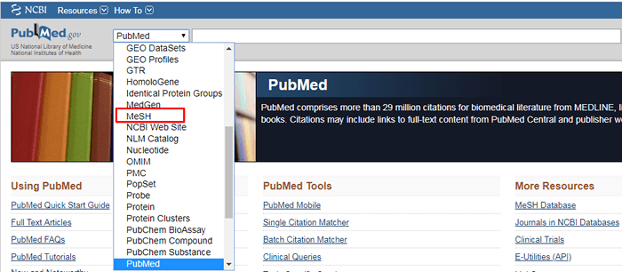 """Screenshot of the drop-down menu for PubMed's homepage search bar with """"MeSH"""" boxed in red."""