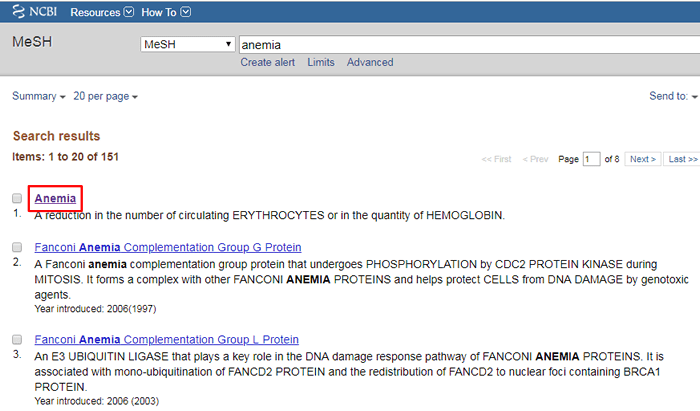 """Screenshot of a MeSH search for """"anemia"""" with the top result boxed in red."""