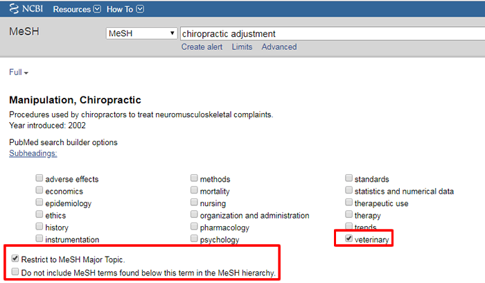 """Screenshot of the MeSH page for """"Manipulation, Chiropractic"""" with the veterinary subheading and """"Restrict to MeSH Major Topic"""" box checked."""