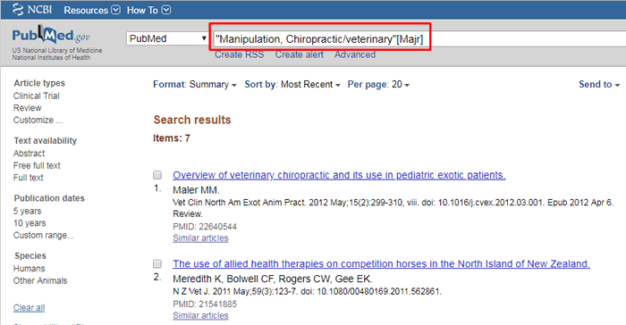 """Screenshot of a PubMed major topic search for """"Manipulation, Chiropractic/veterinary"""" with the search boxed in red."""