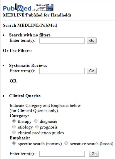 Screenshot of MEDLINE/PubMED for Handhelds.