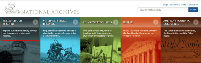 "Screenshot of the homepage for the National Archives with ""Research Our Records"" boxed in red."