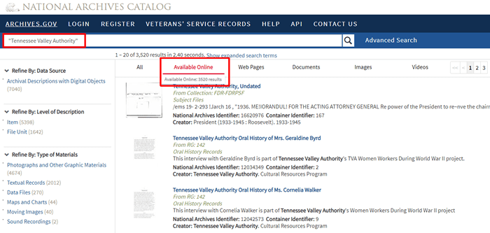 "Screenshot of a National Archives catalog search for ""Tennessee Valley Authority"" limited to records available online."