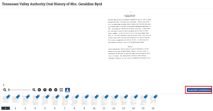 "Screenshot of a National Archives record for ""Tennessee Valley Authority Oral History of Mrs. Geraldine Byrd."""