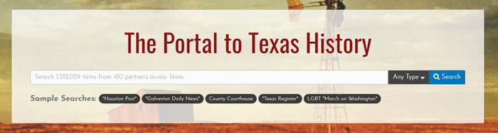 Screenshot of the Portal to Texas History homepage search bar.