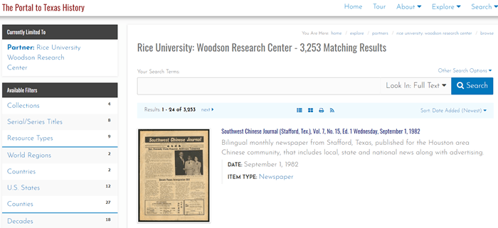Screenshot of a list of Woodson Research Center materials in the Portal to Texas History.