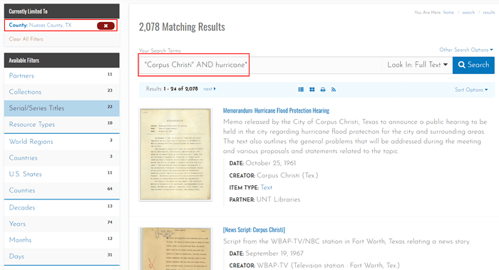 "Screenshot of a Portal to Texas History search for ""'Corpus Christi' and hurricane*"" with the results limited to Nueces County."