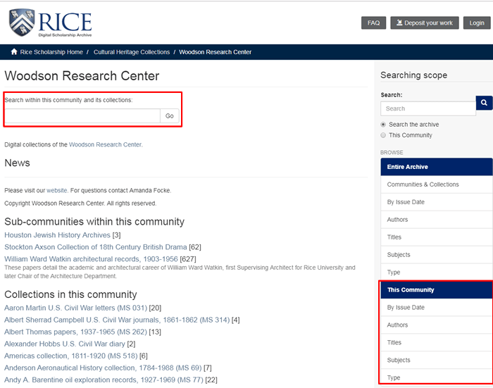 Screenshot of the Rice Digital Scholarship Archive page for the Woodson Research Center.
