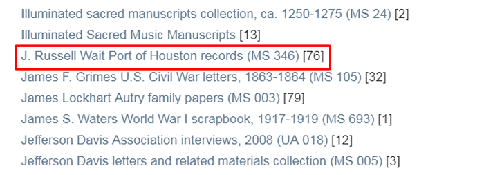 "Screenshot of a list of Woodson Research Center collections in the RDSA with ""H. Russell Wait Port of Houston records (MS 105)"" boxed in red."
