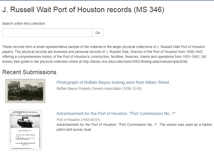 Screen of the J. Russell Wait Port of Houston records in the RDSA.