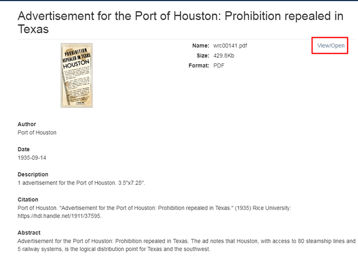 "Screenshot of the record for ""Advertisement for the Port of Houston: Prohibition repealed in Texas"" with the ""View/Open"" link boxed in red."