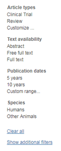 Screenshot of the default search results filters in PubMed.