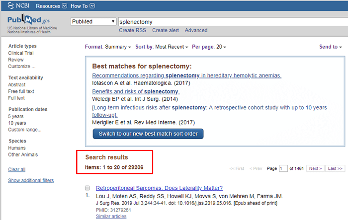 """Screenshot of a PubMed search for """"splenectomy"""" with the number of search results boxed in red."""