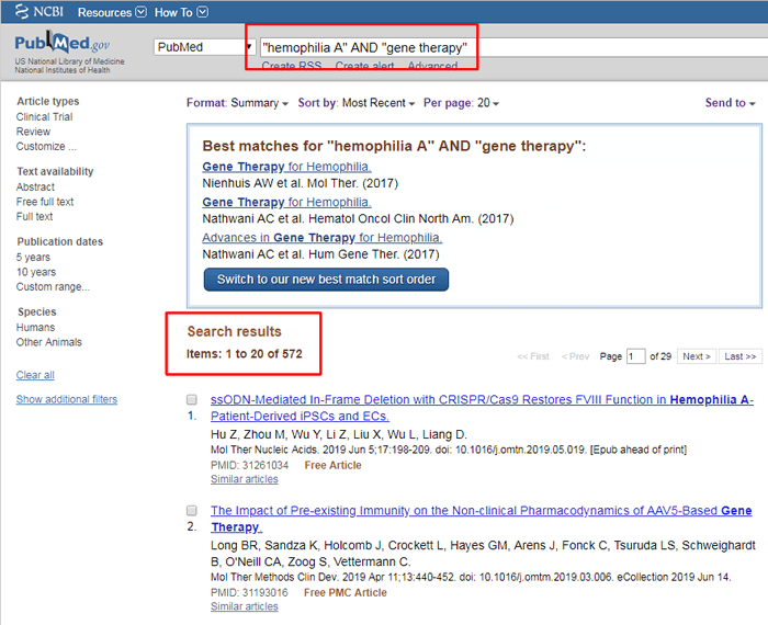 """Screenshot of a PubMed search for """"'hemophilia A' AND 'gene therapy'"""" with the search and the number of results boxed in red."""