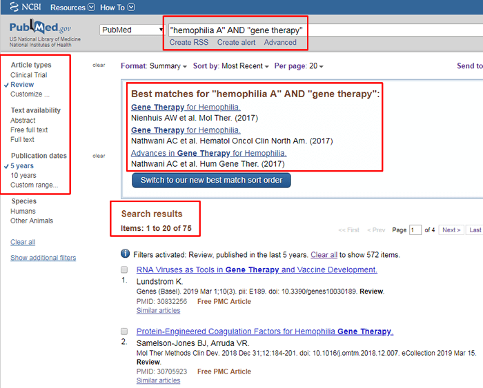 """Screenshot of a PubMed search for """"'hemophilia A' and 'gene therapy'"""" with the search, the number of results, the applied filters, and the suggested best matches boxed in red."""