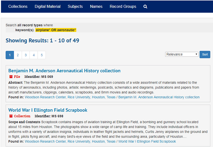 "Screenshot of the search results for ""airplane* or aeronautic*"" in ArchivesSpace."