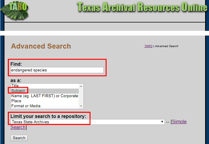 "Screenshot of a TARO advanced search for ""endangered species"" as a subject in the Texas State Archives."